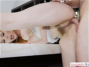red-haired mummy Lauren Phillips rides her magnificent cooch on firm knob