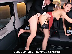 pounded IN TRAFFIC - Footjob and car hookup with Tina Kay