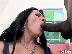 Mature wife with yam-sized black stiffy creampie