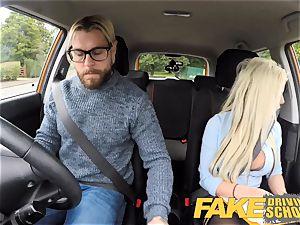 faux Driving college huge-boobed blonde Barbie Sins