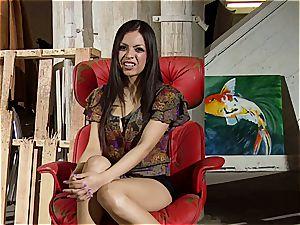 Boobtastic Yurizan Beltran opens up her gams on the rubdown table