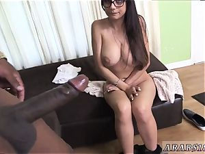 Reality bang-out and killer hand job on udders Mia Khalifa tries A immense ebony salami