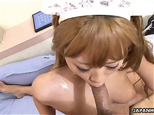 ginormous donk light-haired japanese gets spit roasted by wooly chisels