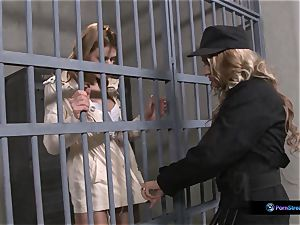 Nathasa Brill and Goldie Divine girl-on-girl jail intercourse