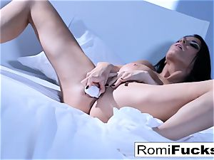 Solo joy on the couch with the big-boobed superstar Romi Rain