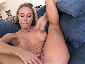 Nicole Aniston voluptuously groping her fragile cunt