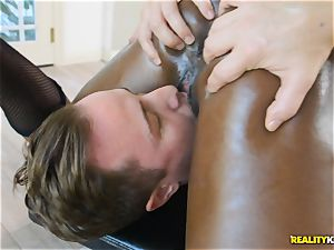 nasty black hotty Ana Foxxx arrives as a cop and catapults the man-meat of Jessie in her minge
