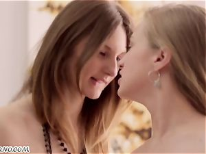 2 uber-cute hotty Ariadna and Hannah with puny breasts gets torn up three way