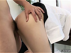 asian honey straddles his penis and gives him a rail