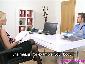 FemaleAgent british guy in audition with ash-blonde agent