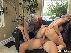 sitter Janice Griffith joins Brandi enjoy for a boinking