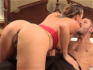 Curly haired Samantha Saint riding with her super-hot puss
