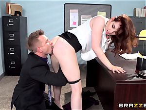 red torrid secretary Ember Stone penalized by her manager