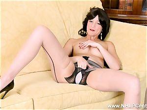 Tracy Rose drains in seam tights undies high stilettos