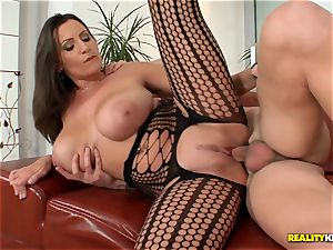 massive boobied sensual Jane nails in fishnet