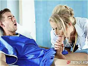 torrid light-haired nurse gets a enormous facial by a patient