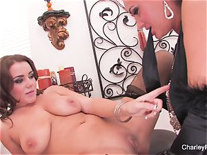 Charley and Natasha play with a double fake penis