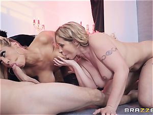 Bridgette B and Eva Notty get wild with megacummer Kyle Mason