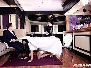 insatiable Frenchwoman Anissa Kate entices family boy under table