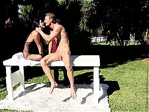India Summer creampied on the stroking table part two
