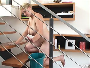 huge-chested housewife Lucy Rose cleaning
