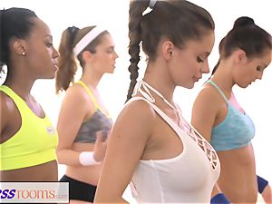 FitnessRooms sweat-soaked cleavage in a room utter yoga babes