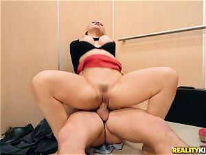 Sarah Vandella juggling on a giant hard-on