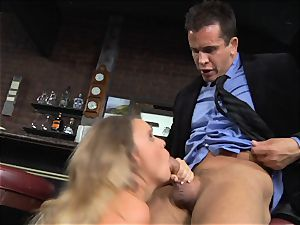 Alexis Adams romps the chief in the bar