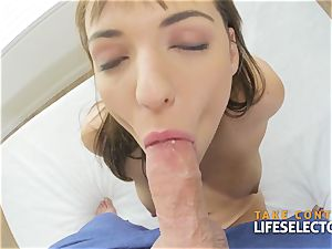 black-haired with phat boobs deep throats and gets tit-fucked in a pov episode