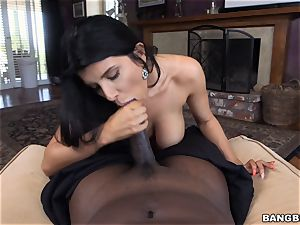 big-titted brunette Romi Rain thrashed by a masive black hard-on