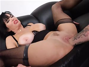 squirting black-haired Veronica Avluv snatch slammed and fisted