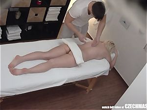 huge-chested towheaded rides masseuse