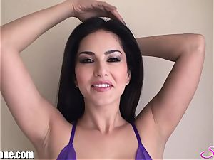 SunnyLeone Sunny Leone in luxurious purple lingerie
