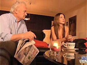 grandpa is pulverized by super-cute dame in News vs Romantic