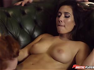 Red-headed breezy Ella Hughes and fatal brown-haired Eva Lovia have fuckfest in a nightclub