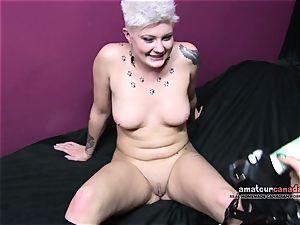 chinese female dominance point of view penetrates short hair gimp kitten strap on dildo