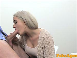 fake Agent super-steamy blonde model loves manmeat over the desk