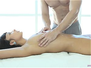 French delight Anissa Kate boned on massage table