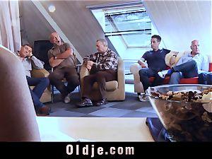 6 oldman pummeling in gang a mind-blowing molten platinum-blonde