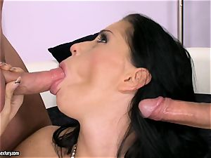 trouser snake starving slut Larissa Dee is fellating one pole at a time with gusto