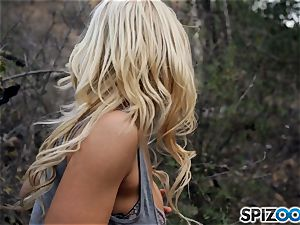 towheaded sweeties Sarah Vandella and Alix Lynx plow with hooded guy