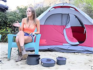 Alexis Adams stuffed rigid in her edible pussy whilst camping