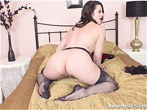 splendid cougar milks to orgasm in sheer nylons garters