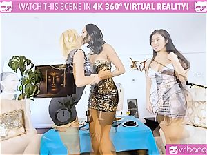 VR pornography - Alexis Seducing Her mates to Have a red-hot hump