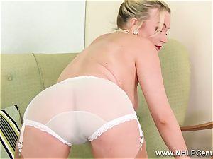 blondie mummy strip taunts in retro underwear nylons stilettos