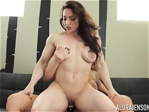 Alura Jenson coochie packed with strap-on strong bulky nymph Brandi May