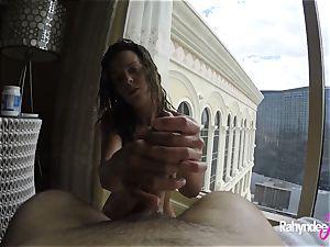 Rahyndee pleasuring dick in Las Vegas motel point of view