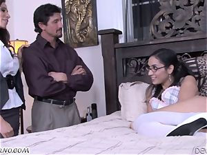 Mature man Tommy Gunn ravages his wifey and a youthfull bespectacled daughter-in-law