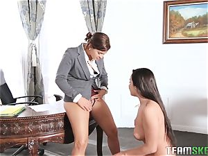 Keisha Grey flashing Karlee Grey whose boss