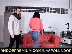 LAS FOLLADORAS - Silicone boobs doll nailed in three